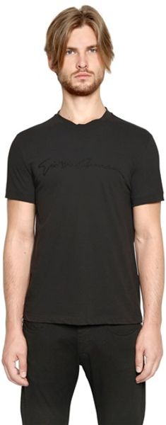 Giorgio Armani Studded Signature Cotton Jersey T-Shirt - Lyst