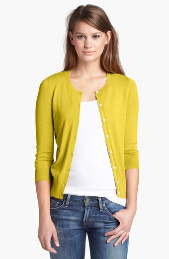 Halogen Three Quarter Sleeve Cardigan - Lyst