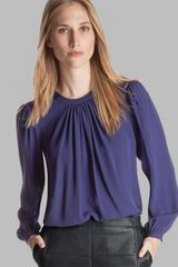 Halston Heritage Top Round Neck Pleated Silk - Lyst