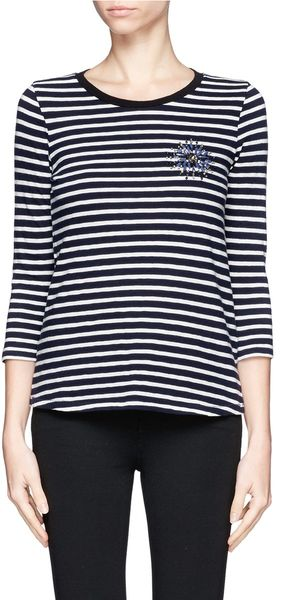 J.Crew Striped Painter Tee with Jewelled Brooch - Lyst