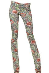 Just Cavalli Flower Printed Stretch Crepe Trousers - Lyst