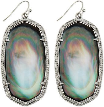 Kendra Scott Rhodium Danielle Earrings Black - Lyst