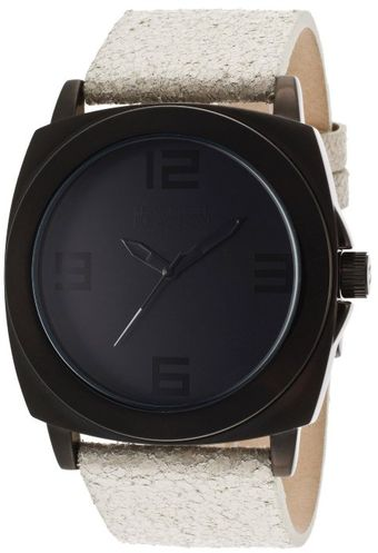 Kenneth Cole Reaction Mens Black Dial Ivory Crackled Genuine Leather - Lyst