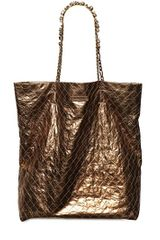 Lanvin Metal Paper Effect Leather Tote Bag - Lyst