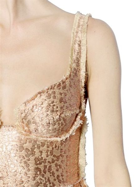 Lanvin Lurex Jacquard Bustier Dress In Gold Light Pink