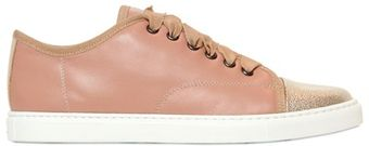 Lanvin 10mm Leather Patent Toe Low Sneakers - Lyst