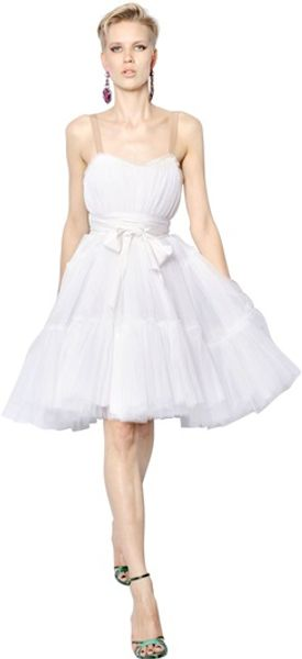 Lanvin Silk Tulle Dress - Lyst