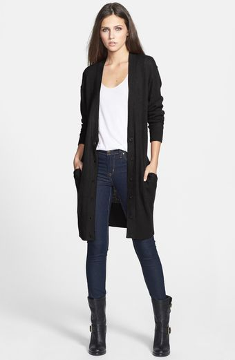 Leith Long Knit Cotton Blend Cardigan - Lyst