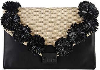 Loeffler Randall Lock Clutch Natural and Black Raffia - Lyst