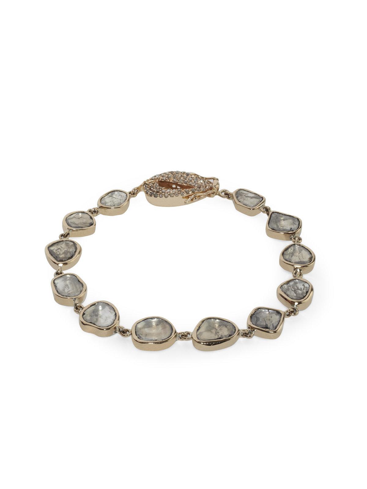 Diamond Anklet With Toe Ring Lc00035 In Anklets From: Maiyet Polki Diamond Strand Bracelet In Metallic