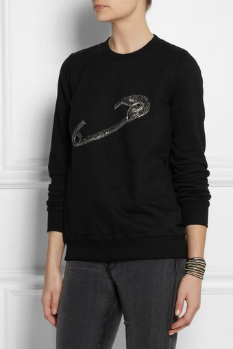 Markus Lupfer Chain Safety Pin Embellished Cotton Sweatshirt - Lyst