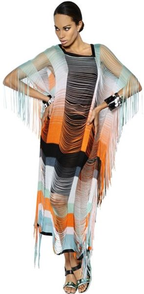 Missoni Viscose Fringed On Silk Long Dress - Lyst