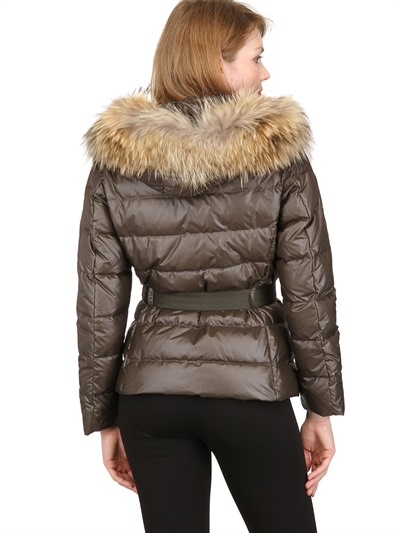 Moncler Angers Raccoon Fur On Nylon Down Jacket In Brown
