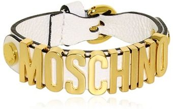 Moschino Grained Leather Bracelet - Lyst