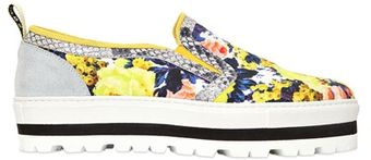 MSGM 40mm Floral Canvas Slip On Sneakers - Lyst