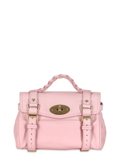 baeb232039d7 Lyst - Mulberry Mini Alexa Small Grained Leather Satchel in Pink