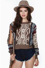 Nasty Gal Outland Crop Sweater - Lyst