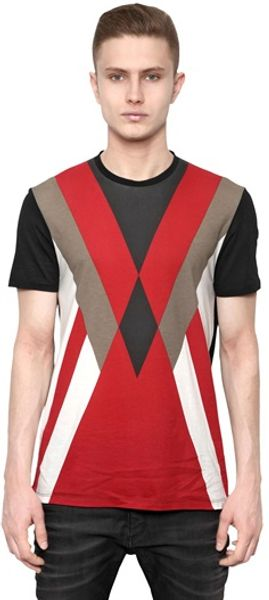 Neil Barrett Jersey Modernist Diamond Tshirt - Lyst