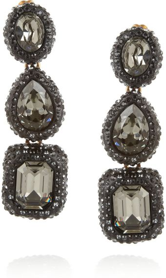 Oscar de la Renta Goldplated Crystal Clip Earrings - Lyst
