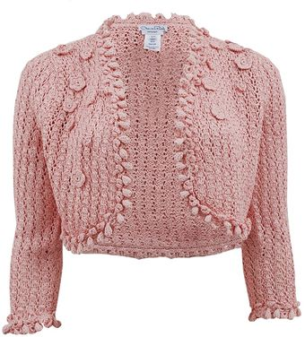 Oscar de la Renta Crochet Cardigan with Flower - Lyst