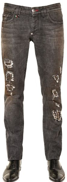 Philipp Plein Studs Lucky Cotton Denim Jeans - Lyst