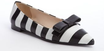 Prada Black and White Striped Leather Bow Detail Flats - Lyst