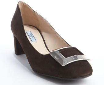 Prada Chocolate Suede Silver Buckle Pumps - Lyst