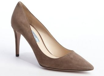 Prada Taupe Suede Pointed Toe Pumps - Lyst