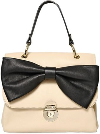 RED Valentino Two Tone Leather Bow Top Handle Bag - Lyst