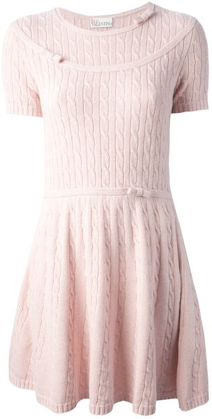 RED Valentino Cable Knit Dress - Lyst