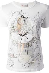 RED Valentino Girl Print T-shirt - Lyst