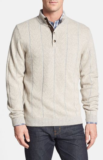Robert Talbott Herringbone Cashmere Mock Neck Sweater - Lyst