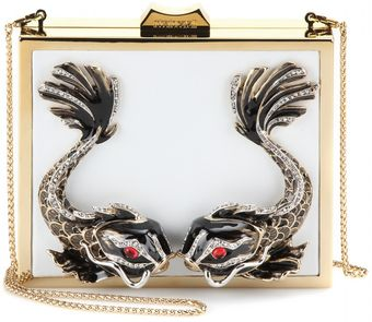 Roberto Cavalli Metal and Leather Box Clutch - Lyst