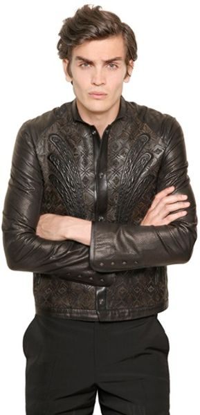 Roberto Cavalli Lasered Leather Jacket - Lyst