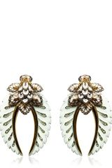 Roberto Cavalli Swarovski Flower Clip Earrings - Lyst