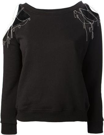 Saint Laurent Embellished Sweatshirt - Lyst