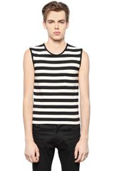 Saint Laurent Striped Cotton Jersey Tshirt - Lyst