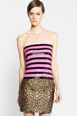 Saint Laurent Strapless Sequin Stripe Top - Lyst