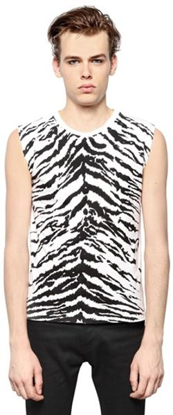 Saint Laurent Tiger Printed Cotton Jersey Tshirt - Lyst