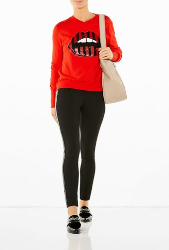 DKNY Pull On Leggings with Leather Side Seams - Lyst