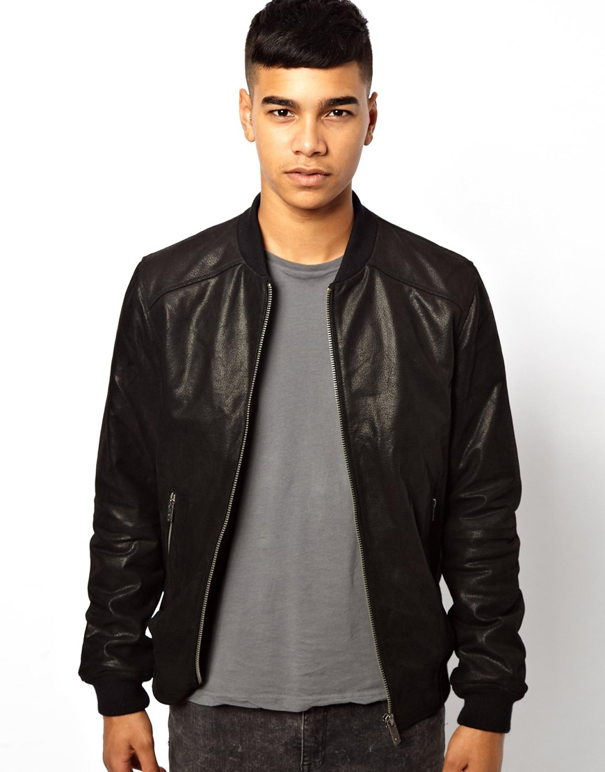 Solid Solid Leather Bomber Jacket in Black for Men | Lyst
