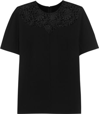 Stella McCartney Lace-paneled Stretch-jersey Top - Lyst
