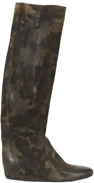 Strategia 50mm Suede Camouflage Wedged Boots - Lyst