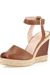 Stuart Weitzman Waycool Leather Wedge Sandal Toffee - Lyst