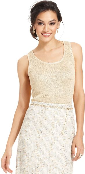 Tahari By Asl Sleeveless Sequin Knit Top - Lyst
