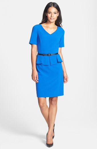 Tahari Stretch Peplum Sheath Dress - Lyst