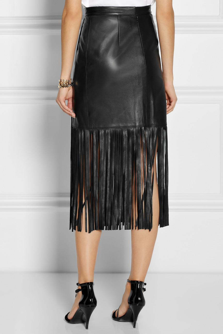 Black Fringe Leather Skirt - Dress Ala