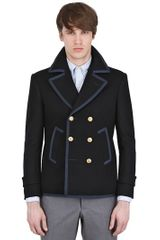 Thom Browne Felted Wool Pea Coat - Lyst
