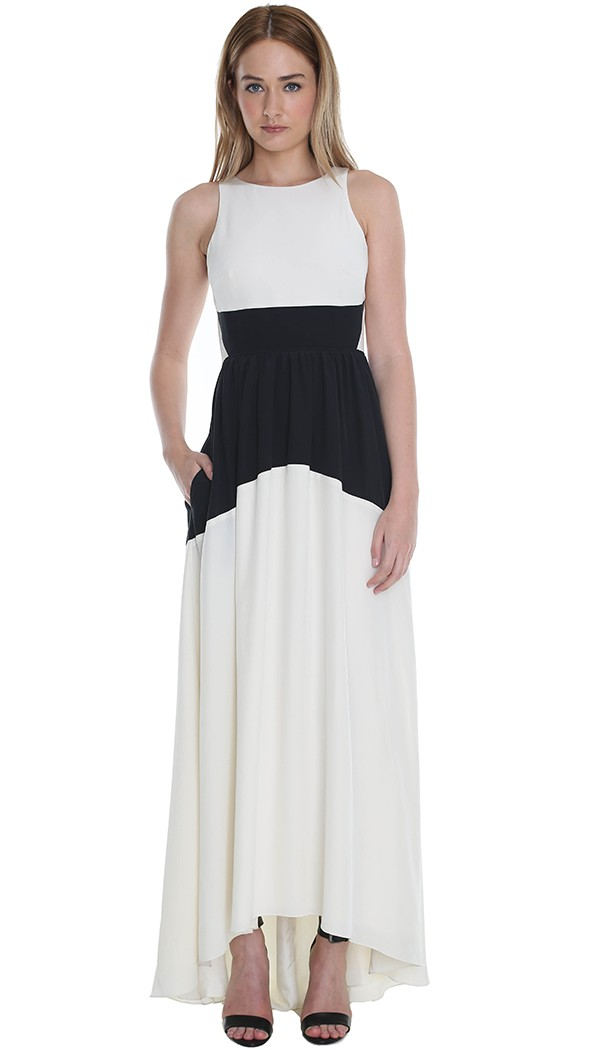 Tibi Color Block Silk Long Dress in White - Lyst