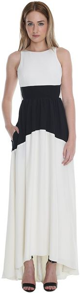 Tibi Color Block Silk Long Dress - Lyst